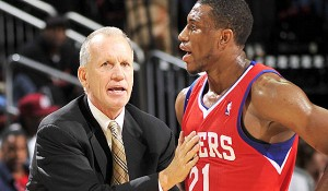 Since coach Doug Collins (left) inserted forward Thaddeus Young into a starting role, Thad has been putting up the best numbers of his career.