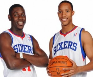 Jrue Holiday (left) and Evan Turner have been crucial to the Sixers success this season.
