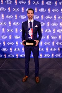 Philadelphia 76ers Michael Carter Williams receives the 2014 KIA Rookie of the Year Award